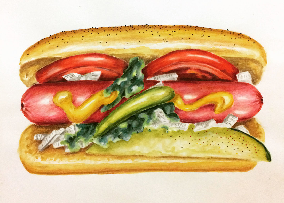 Realistic watercolor hot dog painting by Erika Lancaster