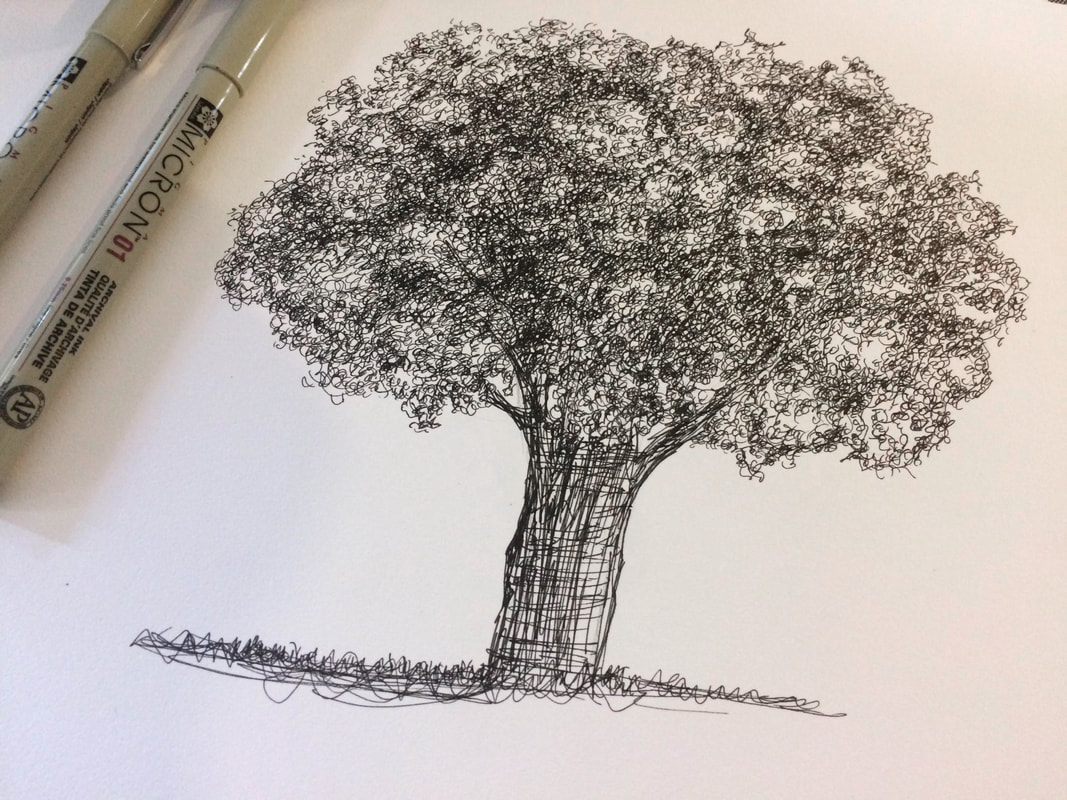 Drawing pen sketch of a tree by Erika Lancaster
