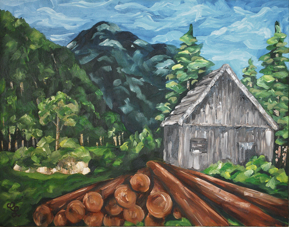 Cabin Oil Painting by Erika Lancaster