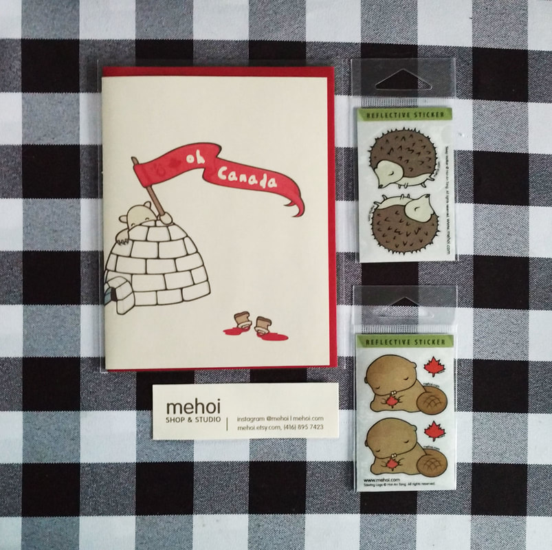 Mehoi Etsy shop stickers and card