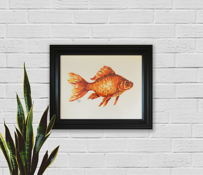 Goldfish Watercolor Painting by Erika Lancaster
