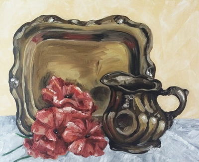 Flowers and Tray Still Life Oil Painting by Erika Lancaster