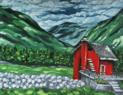 Red Cabin and Mountains Landscape Oil Painting by Erika Lancaster