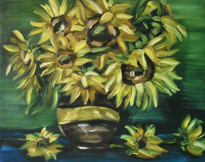 Sunflowers in Vase Still Life Oil Painting by Erika Lancaster