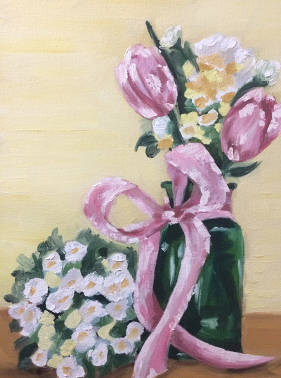 Pink Tulips in Vase Still Life Oil Painting by Erika Lancaster