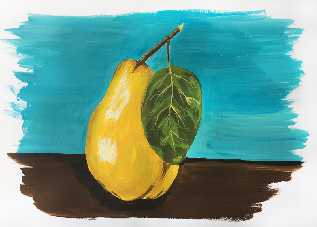 Gouache pear painting by Erika Lancaster