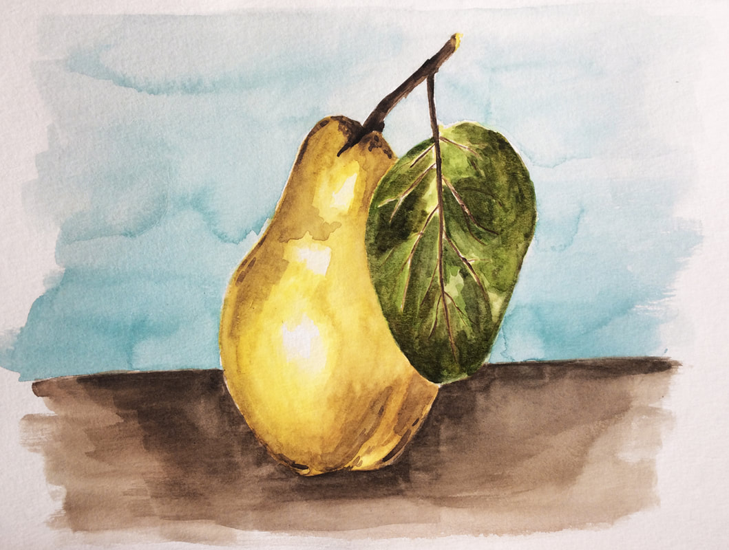 Watercolor pear painting by Erika Lancaster