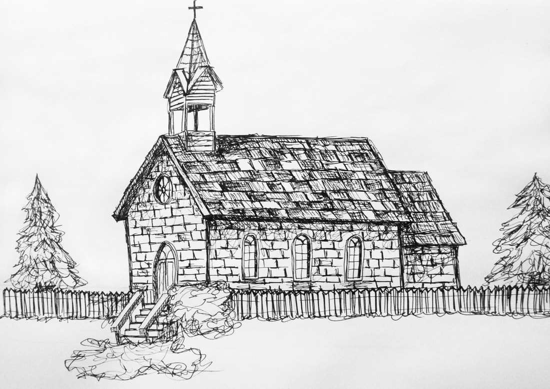 Pen and ink drawing of a country church by Erika Lancaster