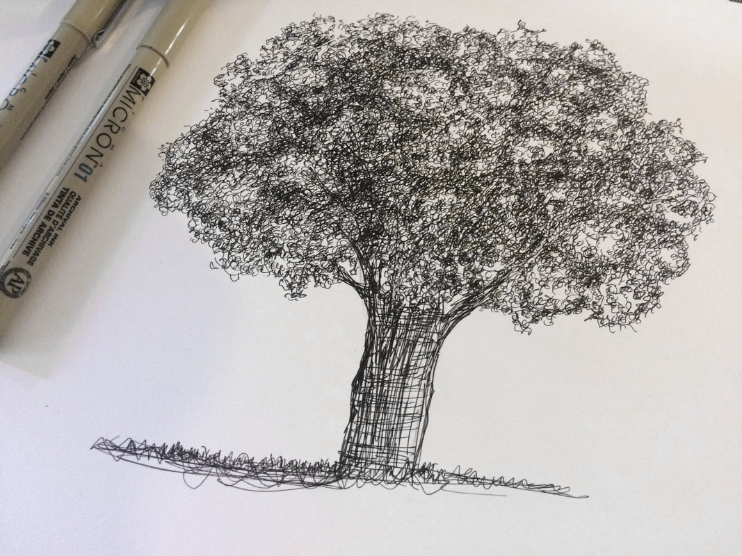 Tree pen and ink drawing by Erika Lancaster