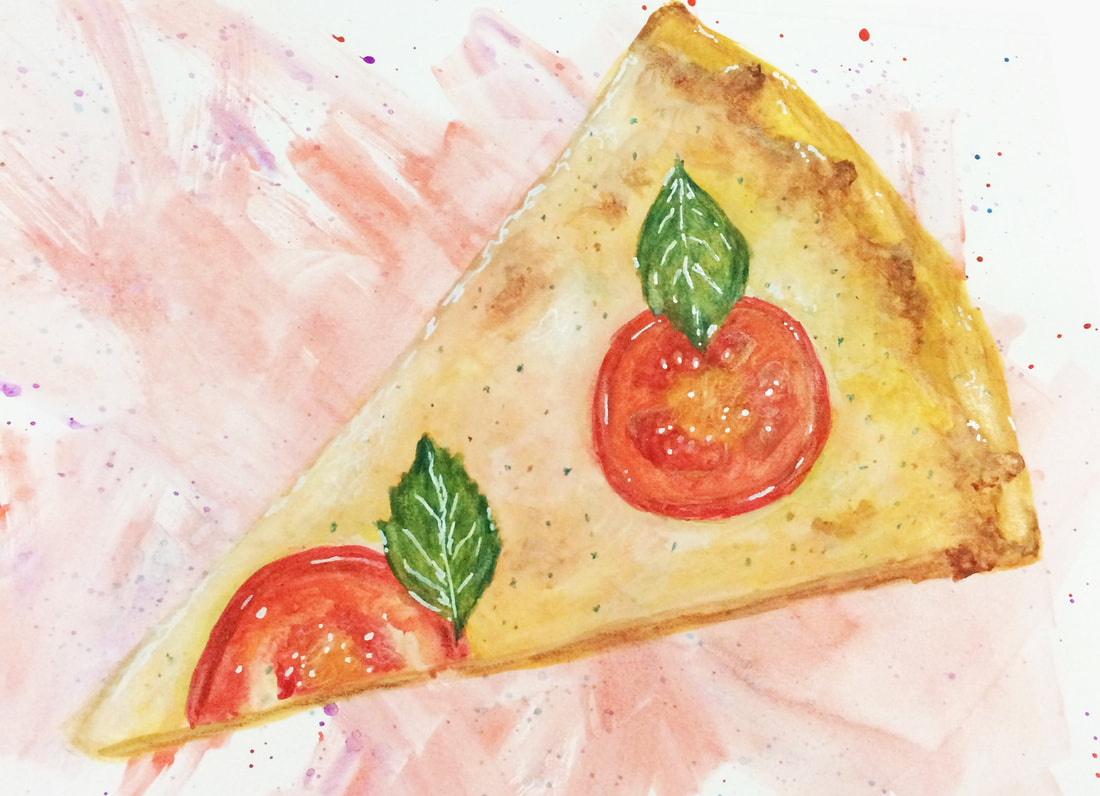 Watercolor painting of a slice of pizza by Erika Lancaster.