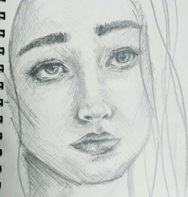 Female Portrait Sketch. Castle Art Supplies Pencils, Pelican PVC Free Eraser and Canson Small Drawing Sketchbook.