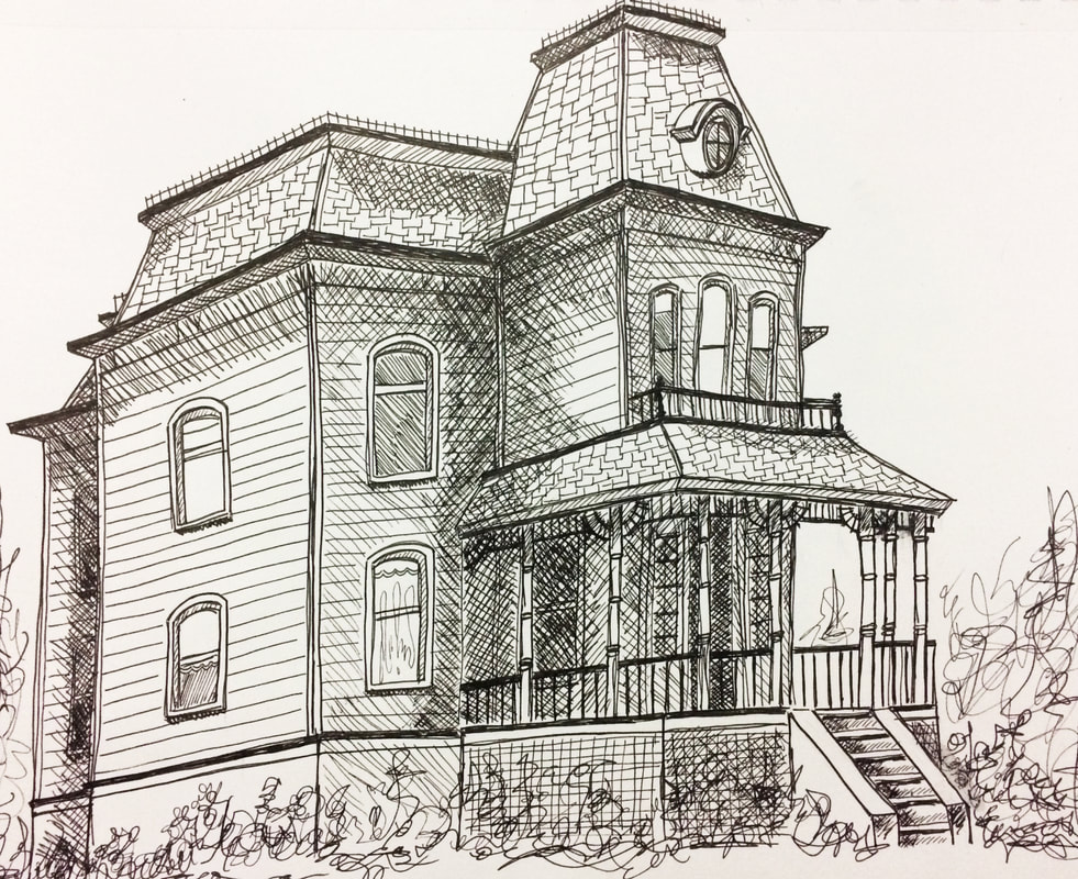 Drawing pen sketch of the house from the movie Psycho by Erika Lancaster
