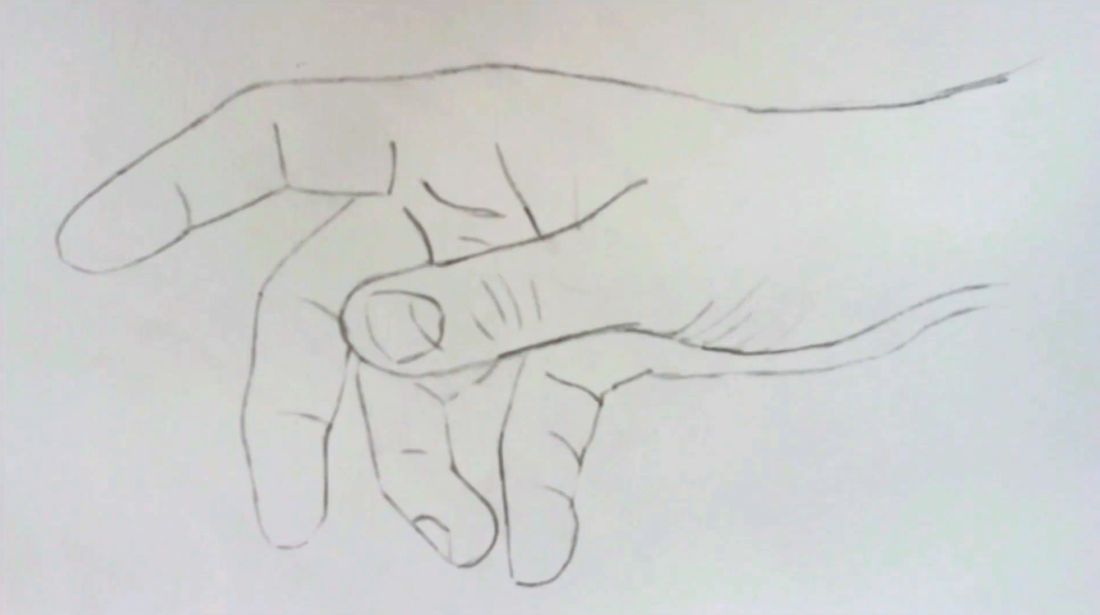 Hand outline pencil drawing