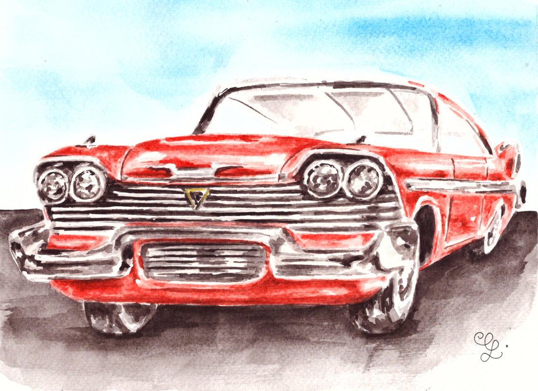 Watercolor classic car by Erika Lancaster