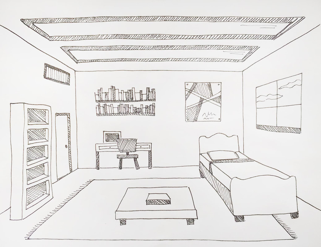Room interior drawing showing One-Point Perspective.