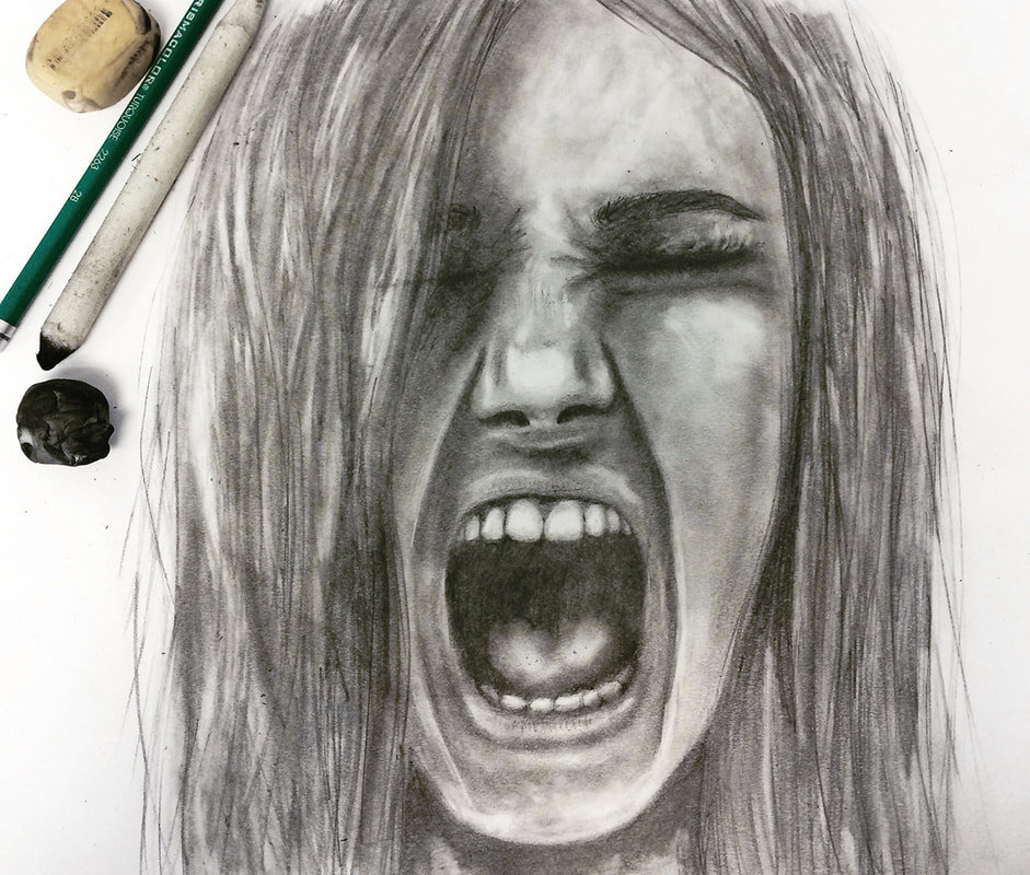 Girl screaming drawn with pencil by Erika Lancaster.
