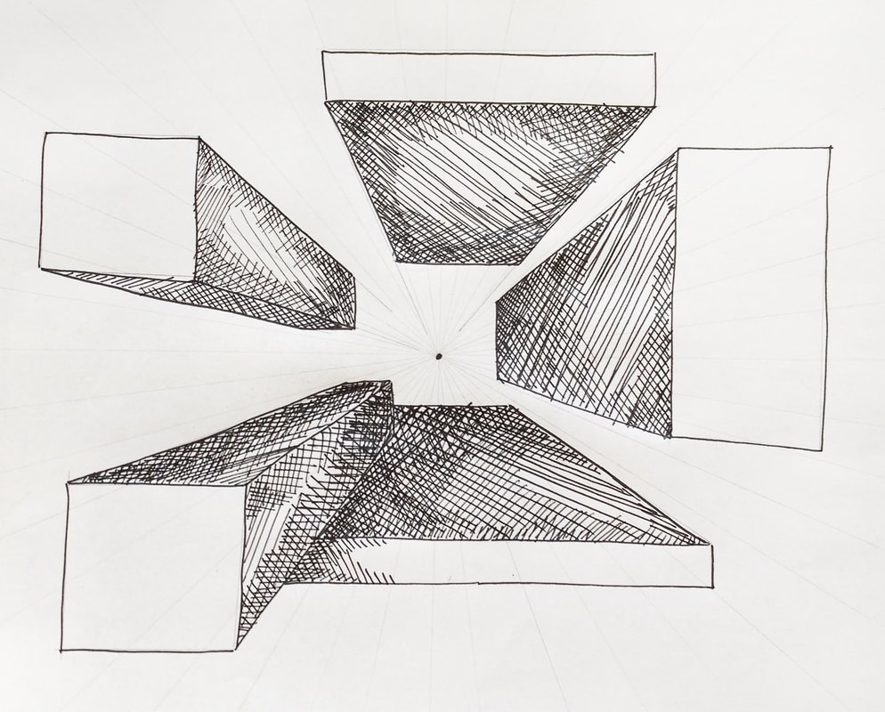 3-Dimensional shapes drawn on a 1-Point Perspective grid.