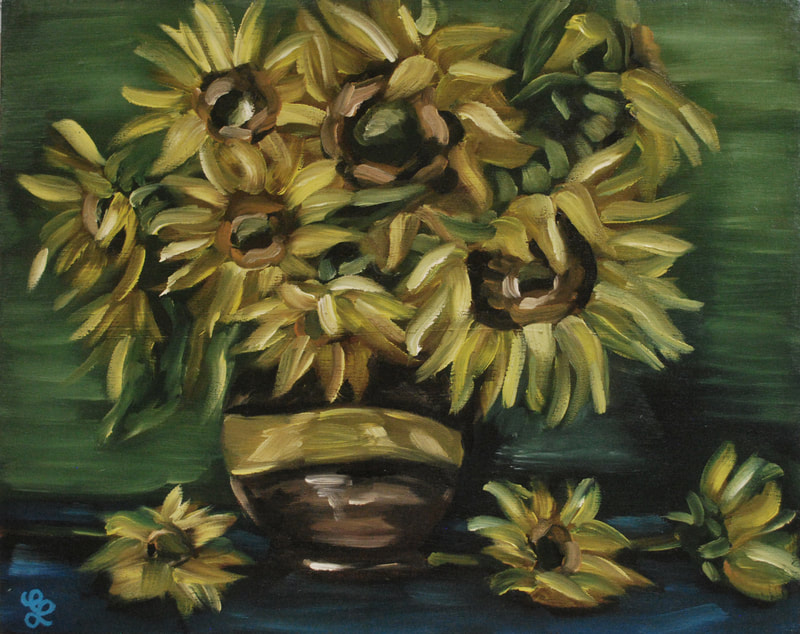 Sunflower Still Life Painting by Erika Lancaster