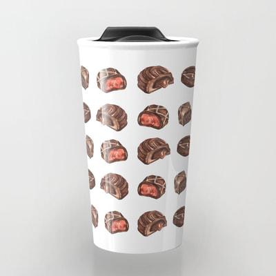 Watercolor Chocolate Truffles on Travel Mug
