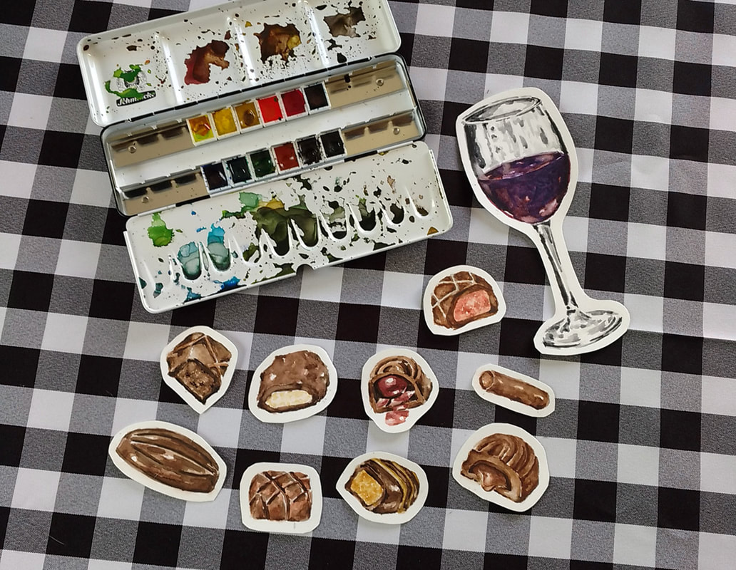 Watercolor Chocolates and Glass of Wine. Schmincke 12 Pan Watercolor Set and Art-n-Fly Cold Press Watercolor Paper.