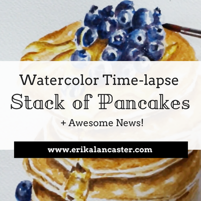 Watercolor Time-lapse Stack of Pancakes