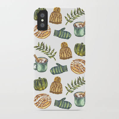 Watercolor Winter Objects Pattern on Cell Phone Case